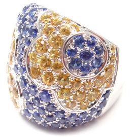 Pasquale Bruni COLOURS 18k White Gold Petals Sapphires Ring