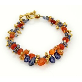 Laura Gibson 22k Gold Blue & Orange Beaded Cluster Gemstone Toggle Bracelet