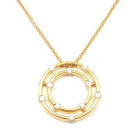 Roberto Coin 18k Yellow Gold Double Hoop Diamond Pendant Necklace