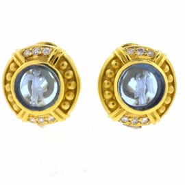 Judith Ripka 18k Yellow Gold Intaglio Blue Topaz Diamonds Earrings