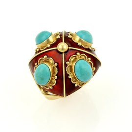 18K Yellow Gold Turquoise & Red Enamel Floral Design Dome Ring