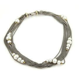 David Yurman Sterling Silver & 18k White Gold Pearls Multi Strand Necklace