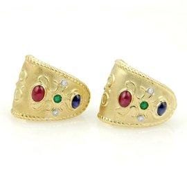 18K Gold Diamonds Ruby Sapphire & Emerald Wide Huggie Earrings