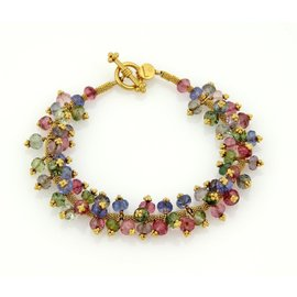 Laura Gibson 22k Multi Color Beaded Gemstone Cluster Bracelet