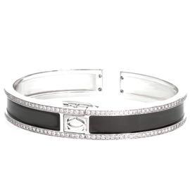 Cartier 18K White Gold Diamond Black Laquer Open Bangle Bracelet