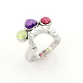 Bulgari Allegra 18k White Gold Amethyst Pink & Green Tourmaline Horseshoe Ring