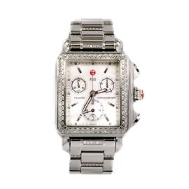Michele Deco 71-6000 Chronograph Stainless Steel Mother Of Pearl Diamond Quartz Ladies Watch