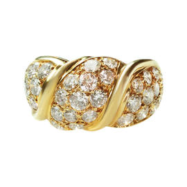 Van Cleef & Arpels 18k Yellow Gold Diamond Dome Ring