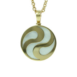 Bulgari 18k Yellow Gold Mother Of Pearl Spinning Ying Yang Pendant Necklace