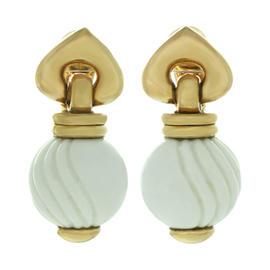 Bulgari Chandra White Ceramic 18k Yellow Gold Earrings