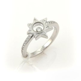 Chopard 18k White Gold Happy Diamond Star Diamond Top Ring