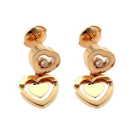 Chopard 18k Rose Gold Happy Amore Floating Diamond Heart Drop Earrings