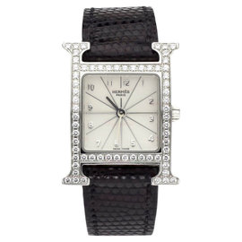 Hermes H Hour Factory HH 1.230 Diamond Stainless Steel PM Unisex Watch
