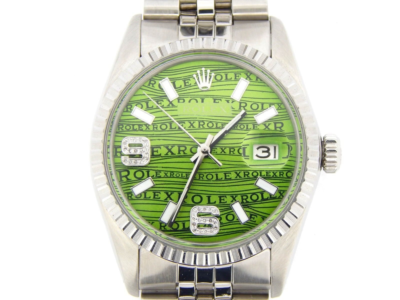 """""""""""Rolex Stainless Steel Datejust Green Arabic Diamomnd Wave Dial 16030"""""""""""" 230140"""