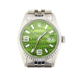 Rolex Stainless Steel Datejust Green Arabic Diamomnd Wave Dial 16030 Mens Watch