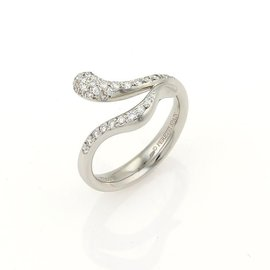 Tiffany & Co. Elsa Peretti Diamonds Platinum Snake Bypass Design Ring