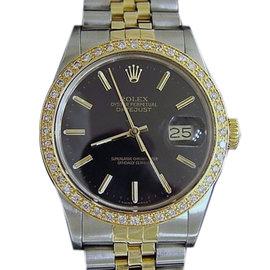 Rolex Datejust 16013 18K Gold Two Tone Stainless Steel Black Jubilee Diamond Mens Watch