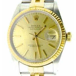 Rolex 18K Gold/Stainless Steel Datejust 16013 Jubilee w/Champagne Dial Men Watch