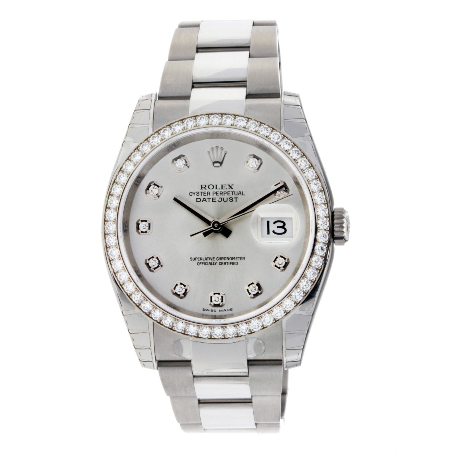 """Image of """"Rolex DateJust 116244 SDO Steel White Gold Silver Diamond Dial Oyster"""""""