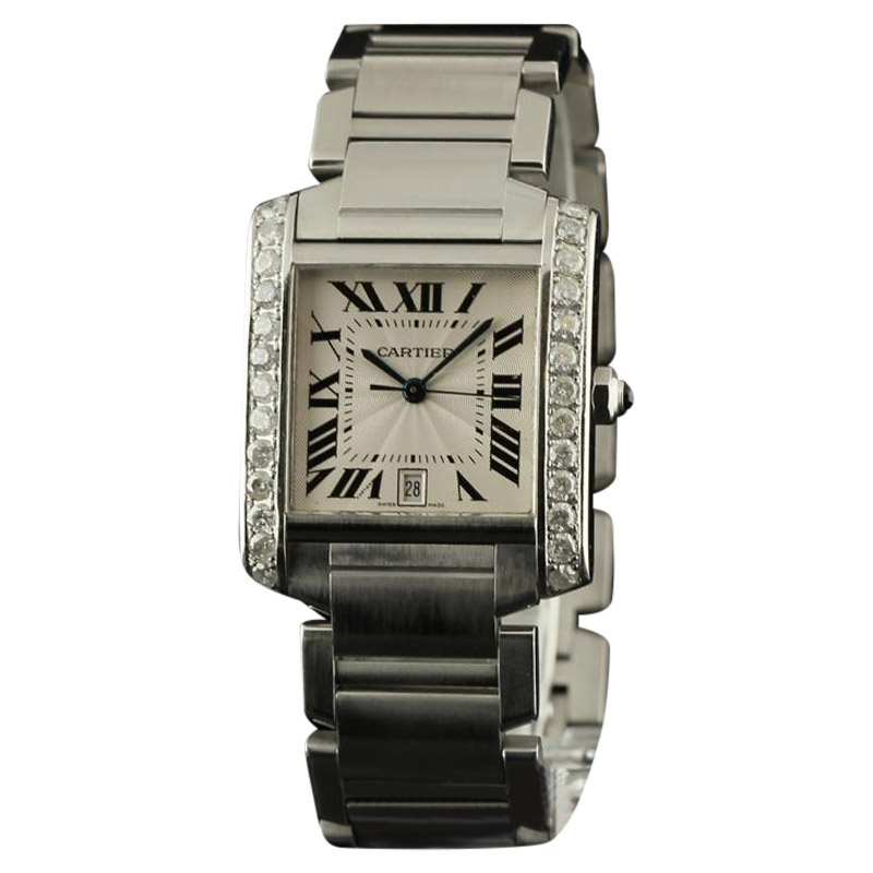 """""Cartier Tank Francaise Large W51002Q3 Diamonds Steel Silver Watch"""""" 271638"