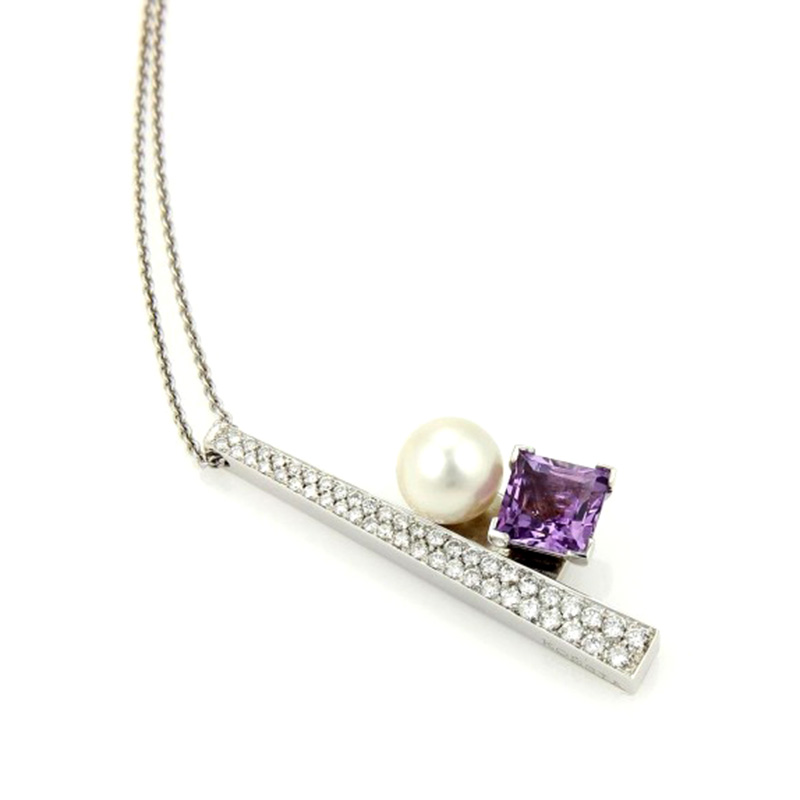 "Image of ""Koesia 18K White Gold Diamond Amethyst Pearl Pendant & Chain Necklace"""