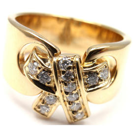 Hermes 18K Yellow Gold Diamond Bow Band Ring