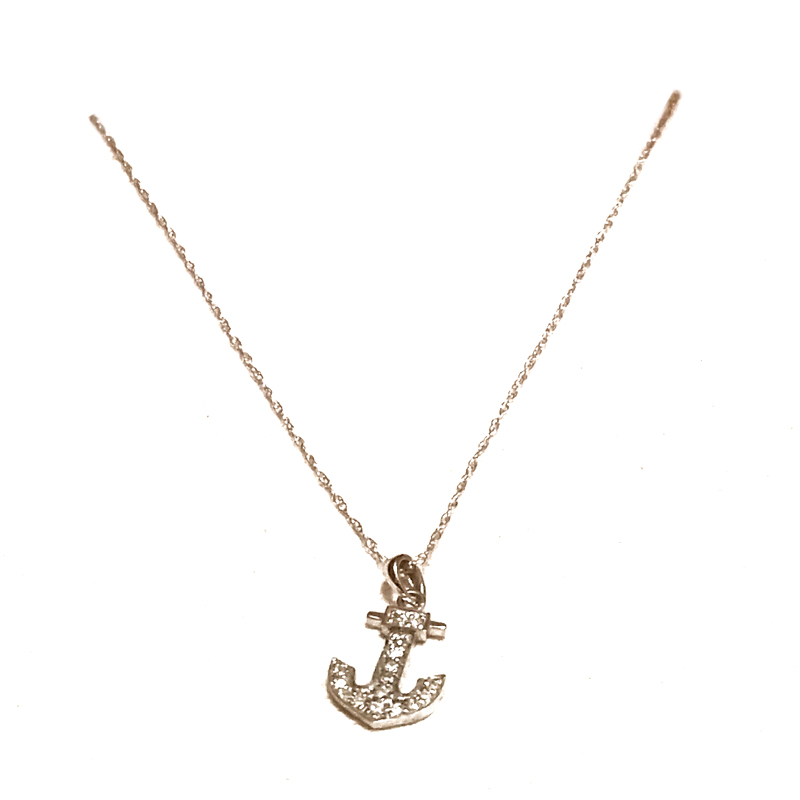 "Image of ""Bulgari 14K White Gold Diamond Anchor Necklace"""