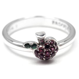 Pasquale Bruni 18K White Gold Apple Ruby Tsavorite Ring