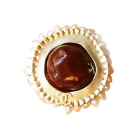 Authentic Chanel CC Burgundy Stone Faux Pearl Seed Ring