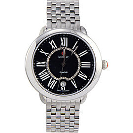 Michele MWW21B000026 Serein 16 0.11 ct Diamonds Black Dial Swiss Quartz Womens Watch