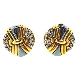Bulgari 18K Yellow Gold Hematite & Diamond Clip On Earrings