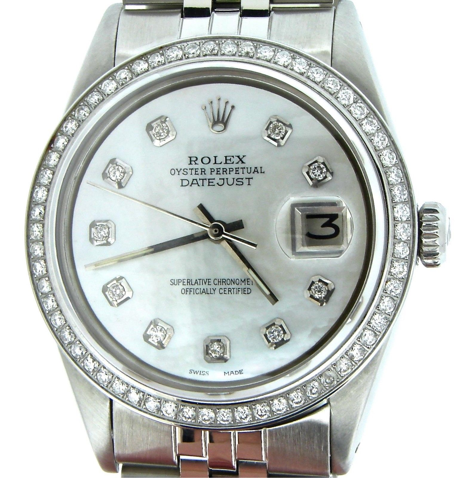 "Image of ""Rolex Datejust Stainless Steel Jubilee w/White MOP Diamond Dial & 1ct"""