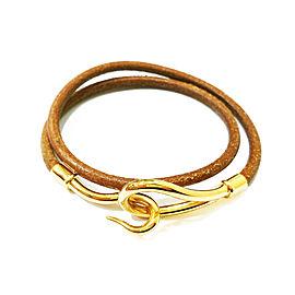 Hermes 18K Gold Plated Hook Palladium Leather Bracelet/Choker