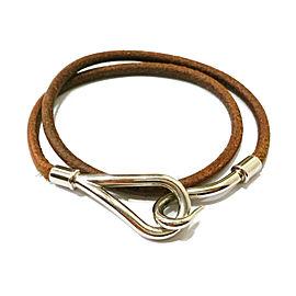Hermes Hook Palladium Leather Bracelet or Choker