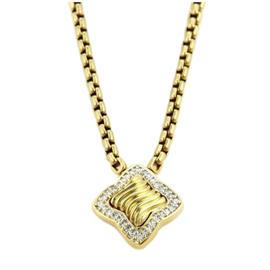David Yurman 18K Yellow Gold Diamonds Pendant & Chain Necklace