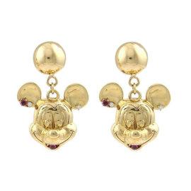 18K Yellow Gold Diamonds & Rubies Mickey Mouse Dangle Earrings