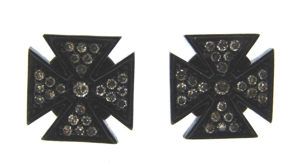 "Image of ""Lynn Ban Blackened Sterling Silver & Diamond Maltese Cross Earrings"""