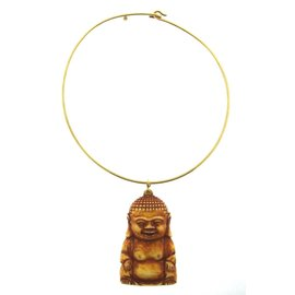 Cartier 18K Yellow Gold Carved Buddha Choker Necklace