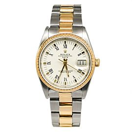 Rolex Date 15223 18K Bezel Two-Tone 34mm White Dial Automatic Men's Watch