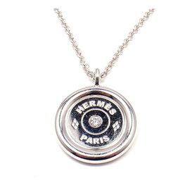 Hermes 18K White Gold Clous De Selle Diamond Pendant Toggle Necklace