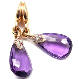 Pomellato 18K Yellow Gold Diamond Amethyst Drop Earrings
