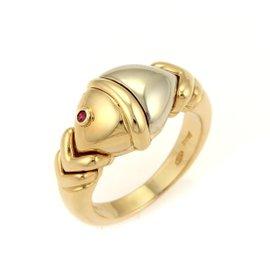 Buglari 18K Two Tone Gold Naturalia Ruby Fish Ring