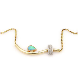 14K Three Tone Gold Australian Opal and Diamonds Necklace
