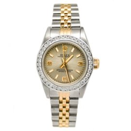 Rolex 67193 Oyster Perpetual 18K Two-Tone White Gold & 1.25ct Bezel Automatic Womens Watch
