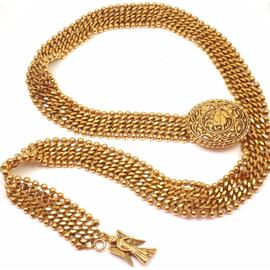 Chanel Amazing Gold Tone Horse And Angel Wide Belt Necklace
