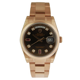 Rolex Day-Date Oyster RG 36mm 118205 Chocolate Diamond/Baguette Dial Mens Watch