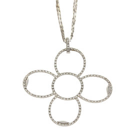 Roberto Coin 18K White Gold Diamonds Large Flower Pendant Triple Chain Necklace