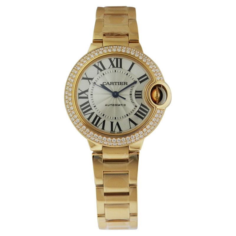 Cartier Wjbb0002 Ballon Bleu 18K Yellow Gold Diamond 33mm Womens