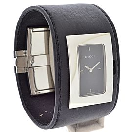 Gucci YA078506 Black Leather Black Dial Stainless Steel Watch