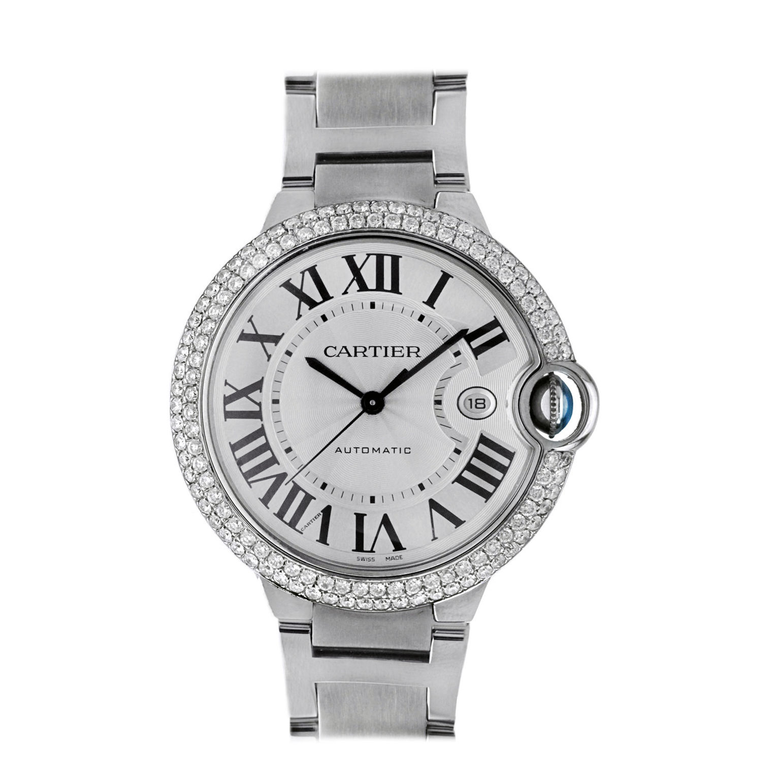 Cartier W69012Z4 Ballon Bleu White Face Automatic Diamond Mens 42mm
